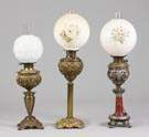 L - Victorian Brass Banquet Lamp, C - Victorian Brass Banquet Lamp, R - Brass & Patinated Metal Banquet Lamp.