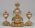 3 Pc. French Porcelain Clock Set