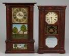L - Triple Decker Shelf Clock w/Carved Pillars, R - 8 day Seth Thomas Shelf Clock