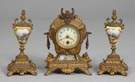 3 Pc. French Porcelain & Bronze Clock Set