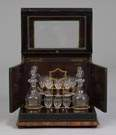 Liquor Set in Inlaid Rosewood & Ebonized Case