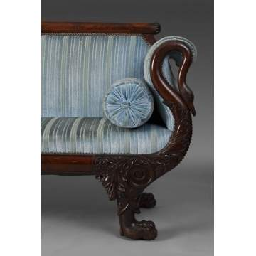 Carved Federal Sofa w/Swans & Paw Feet