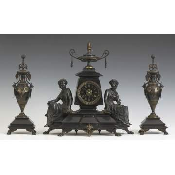 3 Pc. Victorian Shelf Clock Set.