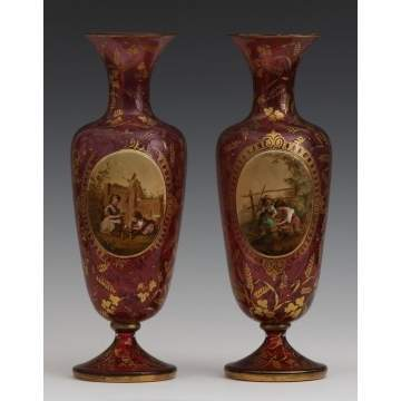 Pair of Fine Moser Enameled Vases