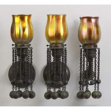 Rare Tiffany Studios Eight Light Bronze & Turtleback Tile Chandelier with 3 Matching Sconces