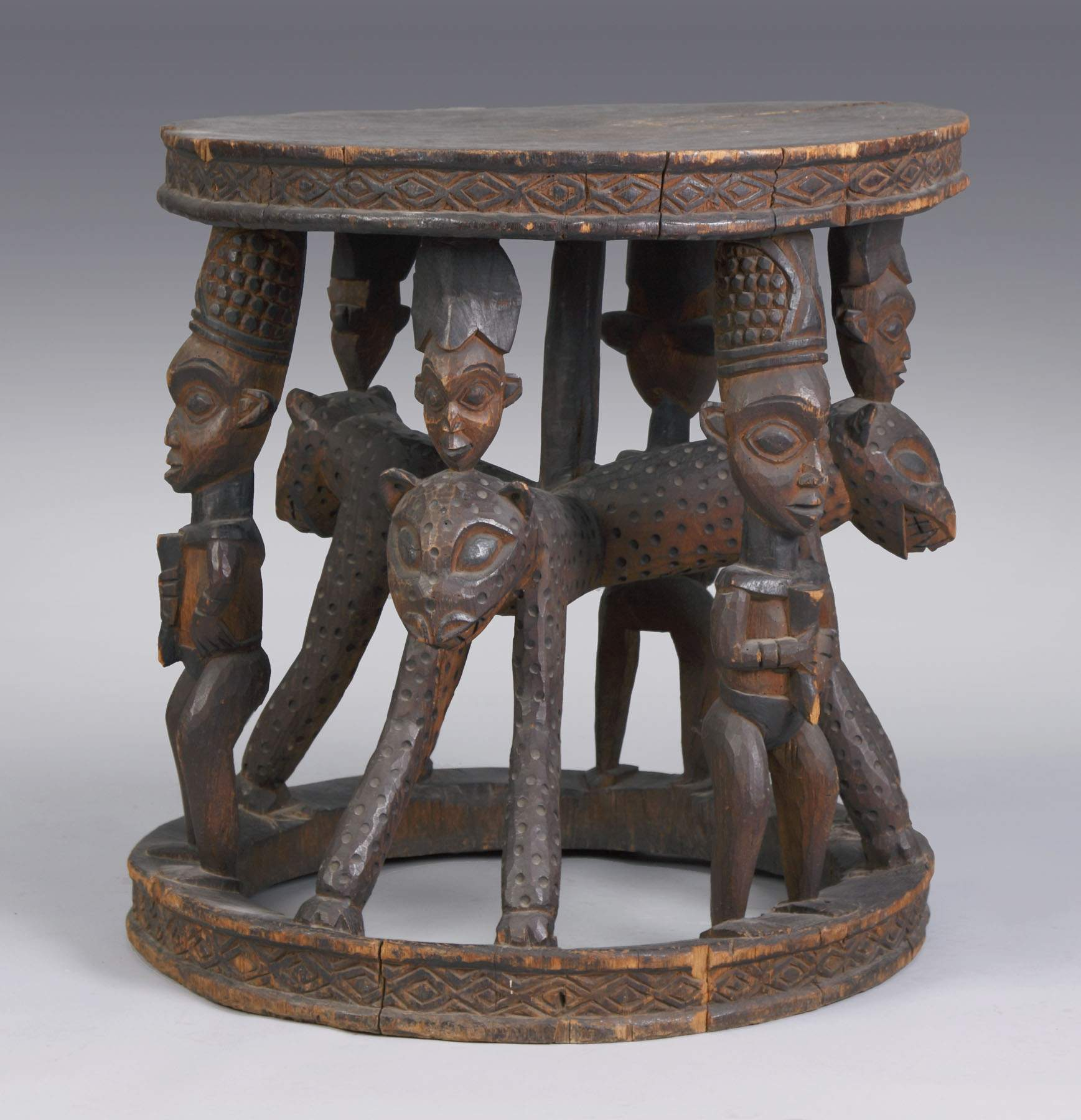 African Carved Figural Table
