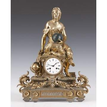 French Gold Patinated Metal Clock
