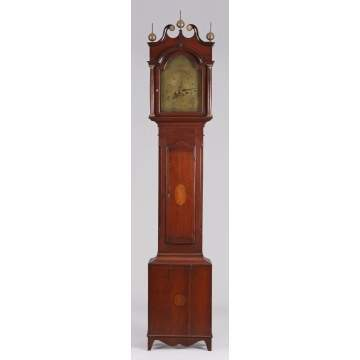 Aaron Lane, NJ, Brass Dial Tall Case Clock