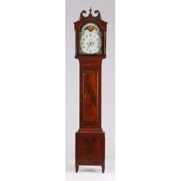 Figured Mahogany & Banded Inlaid Tall Case Clock