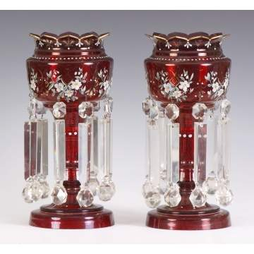 Pair of Cranberry Enameled Lusters