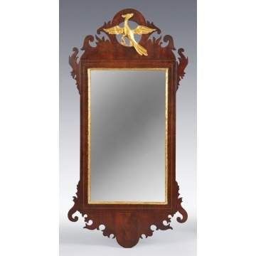Period Chippendale Inlaid Mahogany Mirror
