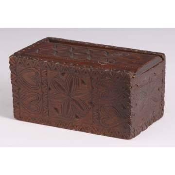 Early PA Chip Carved Pine Candle Box