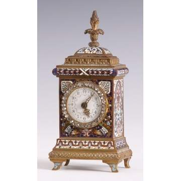 Fine Miniature French Enameled Bronze Clock
