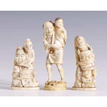 Sgn. Carved Ivory Japanese Figures