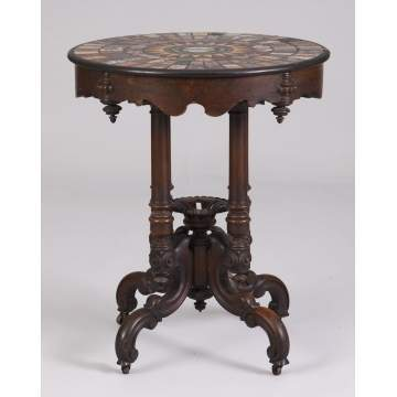 19th Cent. Rosewood & Walnut Specimen Marble & Micro Mosaic Table