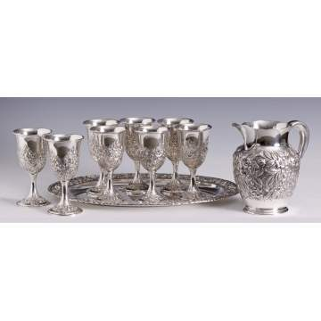S. Kirk & son, Baltimore, Sterling Pitcher, Oval Tray & 8 Goblets