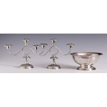Sterling Candlesticks and Bowl