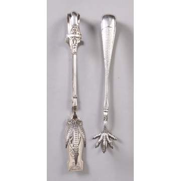2 Sterling Claw Tongs