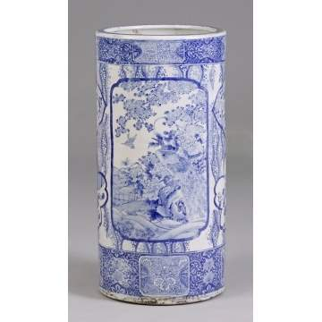 Oriental Blue & White Porcelain Umbrella Holder