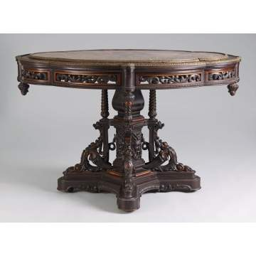 Pierce Carved Rosewood & Fossilized Marble Top Table