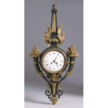 19th Cent. French Patinated & Gilt Bronze Wall Clock