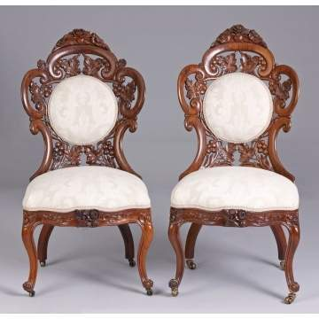 Pair of Belter Fountain Elms Side Chairs