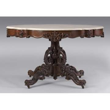 Victorian Carved Rosewood Center Table w/Marble Turtle Top