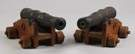 2 Small Cast Iron Cannons on Wood Frames