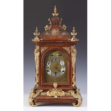 German Carved Mahogany Shelf Clock w/Brass Mounts