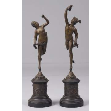 Mercury & Aphrodite Bronze Sculptures on Marble Bases