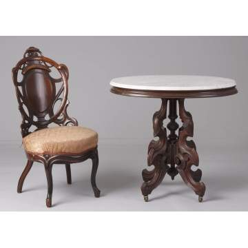 Laminated Chair & Marble Top Table