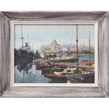 Sgn. Painting, harbor scene