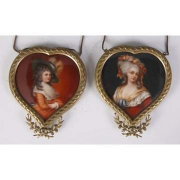 2 Miniatures on Porcelain in Heart Shaped Frames