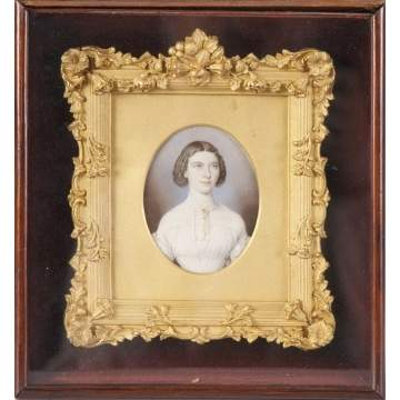 Miniature on Ivory In Gilt Bronze Frame
