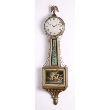 Period New England Presentation Banjo Clock