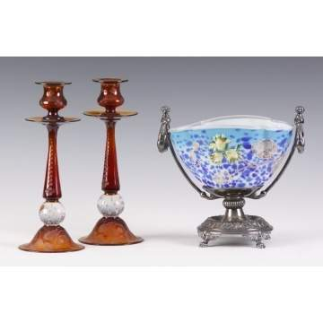Pairpoint Candlesticks & Art Glass Bowl