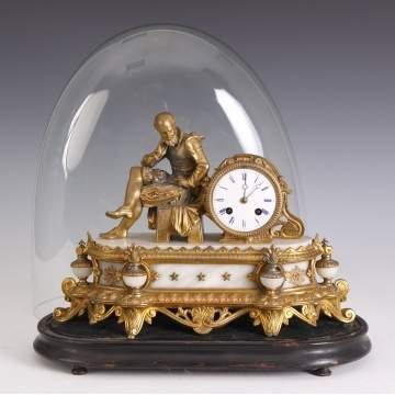 French Patinated Gilt Metal & Onyx Shelf Clock w/Glass Dome