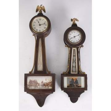 2 Miniature Banjo Clocks