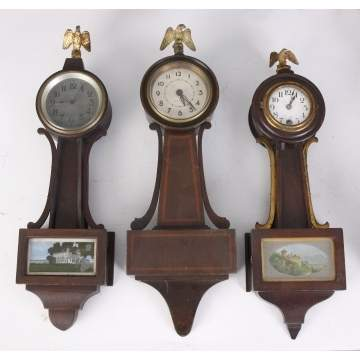 3 Miniature Banjo Clocks