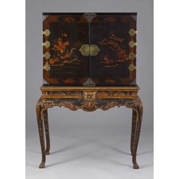 Chinese Lacquered Cabinet w/Dovetail Case