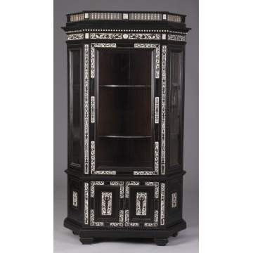 Ebonized & Ivory Inlaid Italian Beveled-side Cabinet