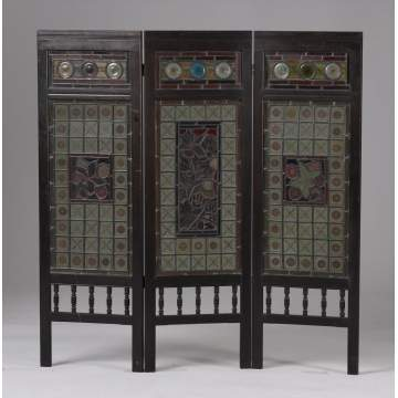 Victorian Ebonized Fire Screen w/Leaded & Stained Glass Panels