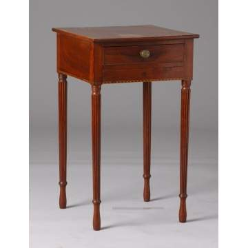 Sheraton Inlaid Mahogany 2 Drawer Stand