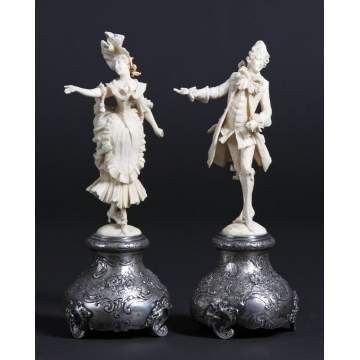 Carved Ivory Figures of Man & Woman on Silver Base