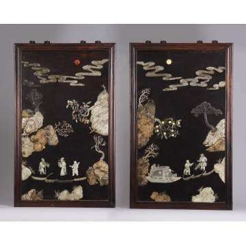 Two Carved & Lacquered Chinese Hardstone Panels