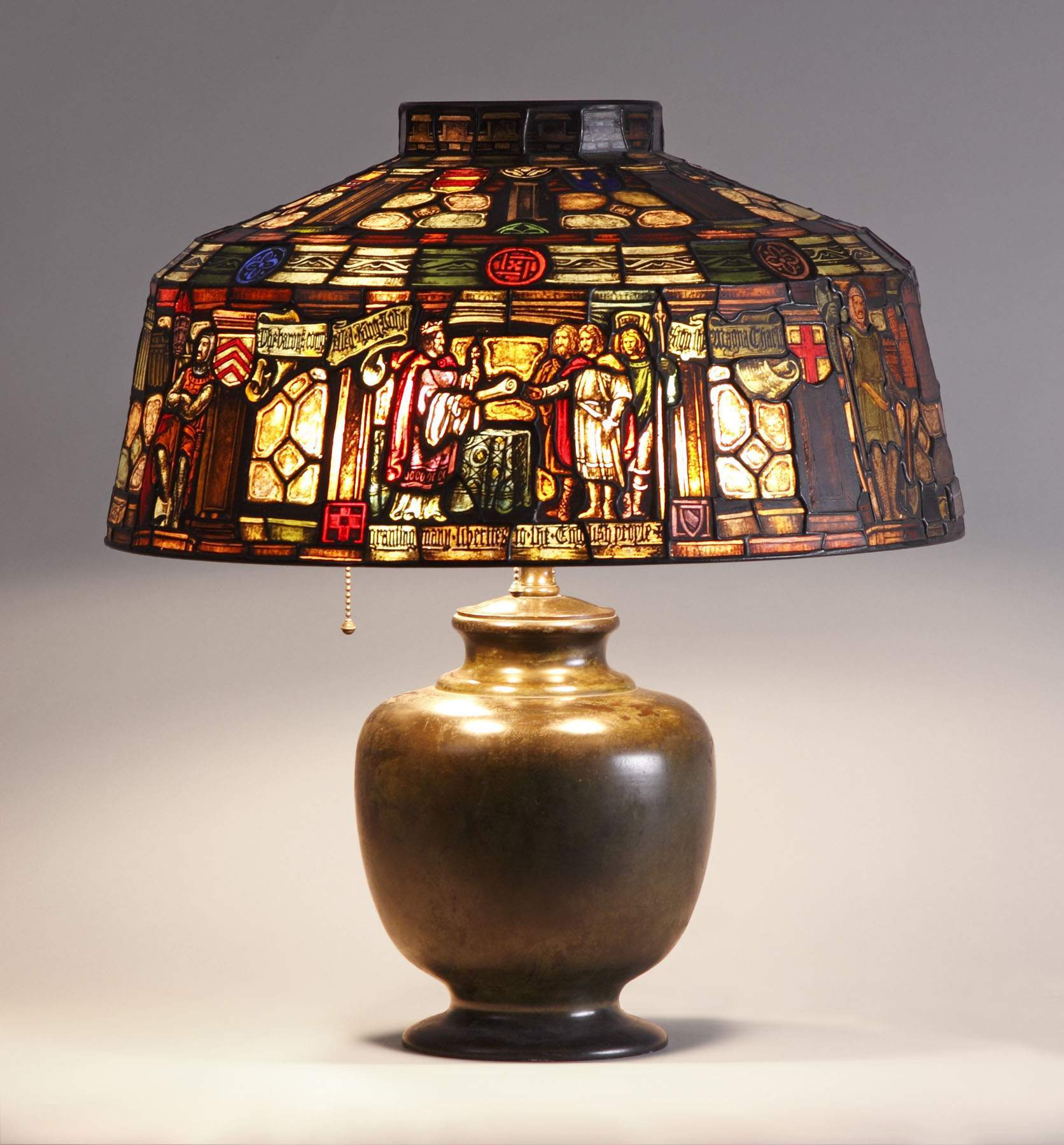 Duffner U0026 Kimberly Leaded U0026 Stained Glass Lamp, Depicting Magna Carta