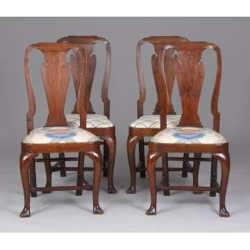 4 - 18th Cent. Queen Anne Walnut Dining Chairs