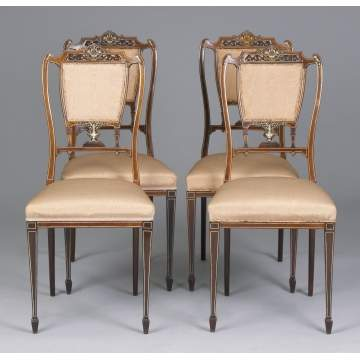 4 - Rosewood Carved Chairs w/Ivory Inlay
