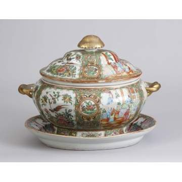 Large Covered Chinese Export Rose Medallion Tureen w/Undertray