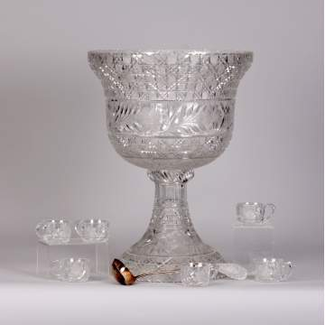 Large Cut Glass Punch Bowl w/6 cups & ladle